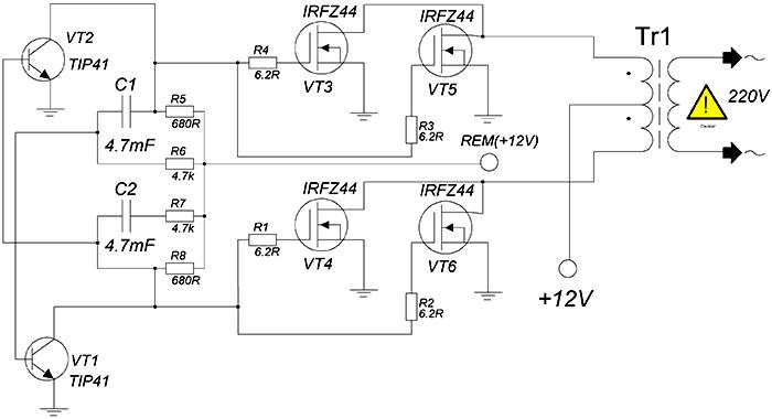 Схема преобразователя напряжения 12-220 Вольт 50Гц 300 Ватт