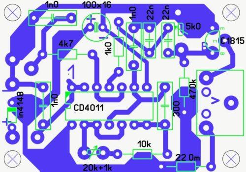 Плата металлоискателя, расположение детатей на плате металлоискателя