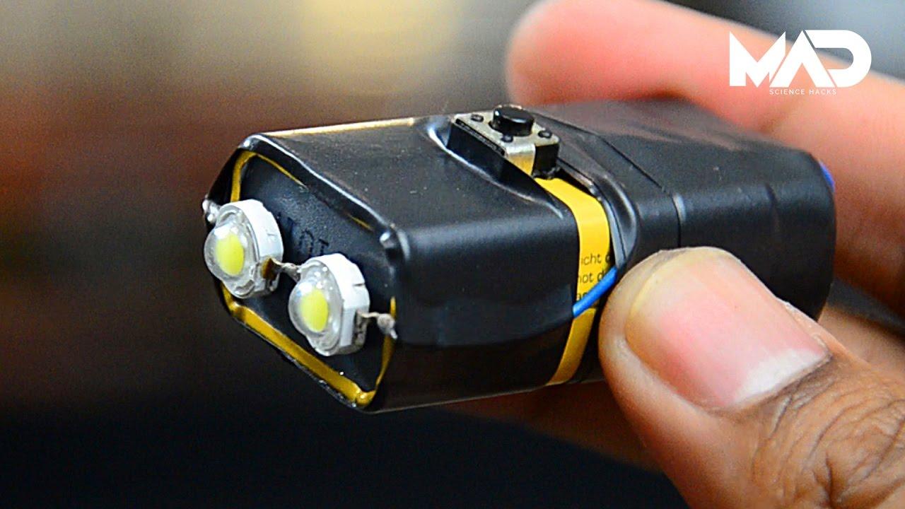 LED фонарик на кроне 9 Вольт Супер яркий светодиодный фонарик своими руками