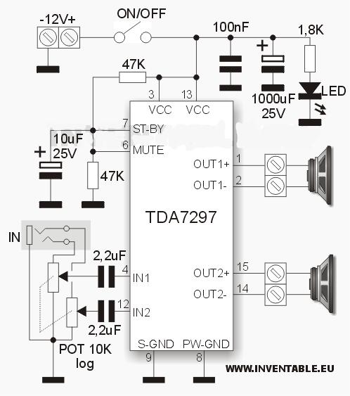 Усилитель мощьности звука на микросхеме TDA7297