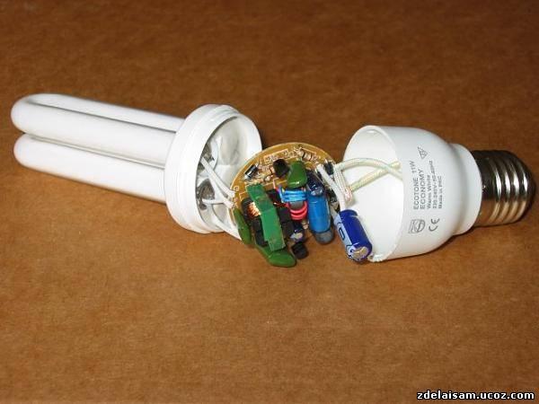 Переделка энергосберегающей лампы на светодиодную