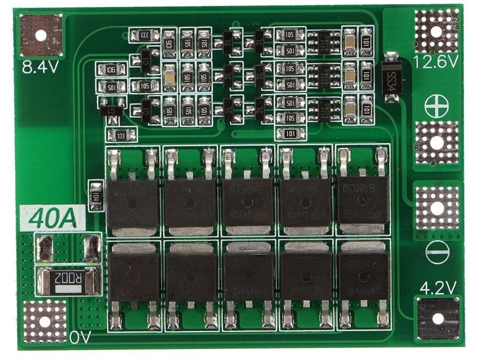 Плата BMS 12.6V 40A