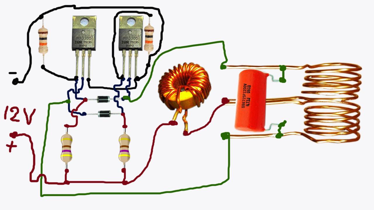 Индукционный нагреватель 12В на транзисторе IRF3205 схема