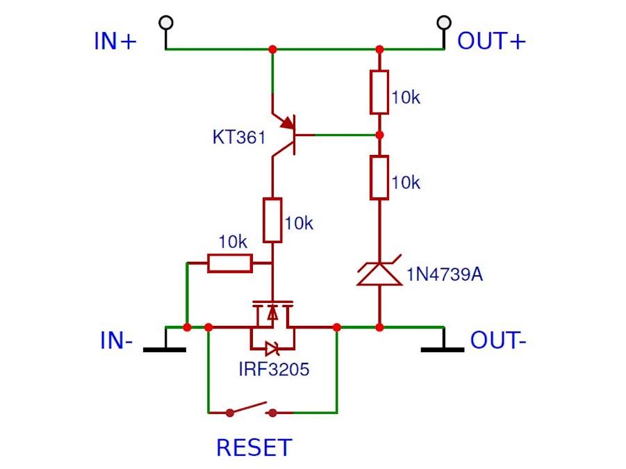 Схема устройства защиты аккумуляторов от перегрузки